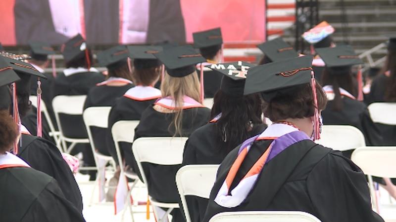 Seniors attending the University of Tennessee graduation ceremony on Saturday.