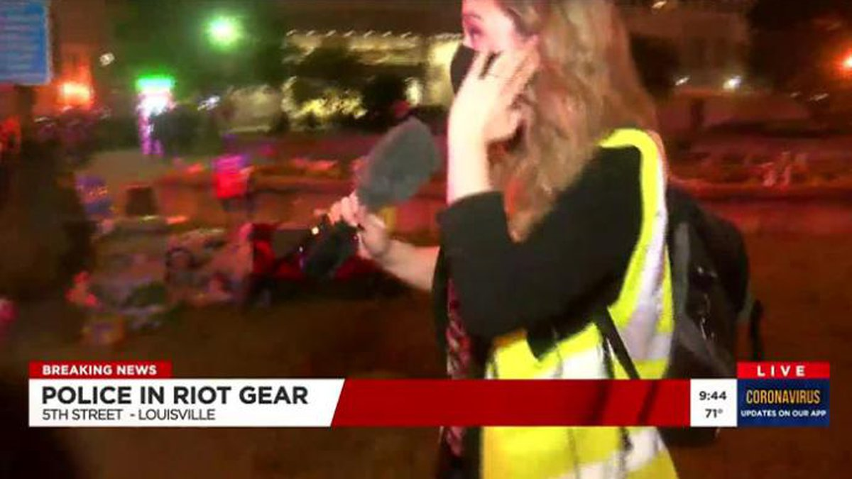 WAVE 3 News reporter Kaitlin Rust appeared to have been hit by pepper balls, reportedly fired...