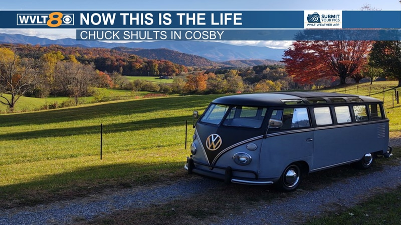 Chuck and his VW Bus are enjoying the view in Cocke County.