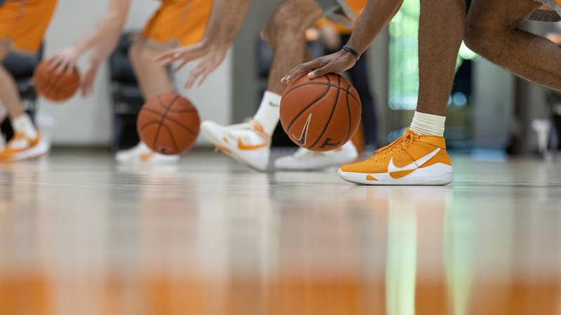 KNOXVILLE, TN - April 20, 2021 - Power T basketball during practice at Pratt Pavilion in...