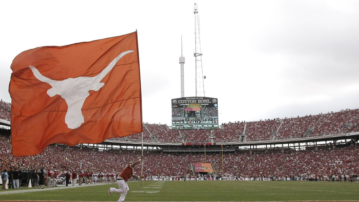 Texas at an NCAA college football game against the Oklahoma at the Cotton Bowl  Saturday, Oct....