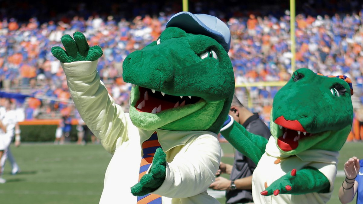 FILE - In this Nov. 7, 2015, file photo, Albert and Alberta, the mascots for Florida, do the...