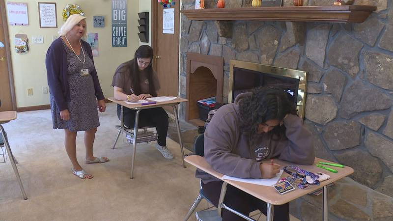 High School students work in the classroom at West End Academy