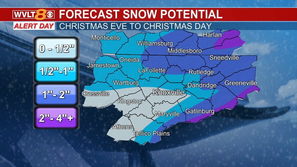 Snow potential after a change from rain.