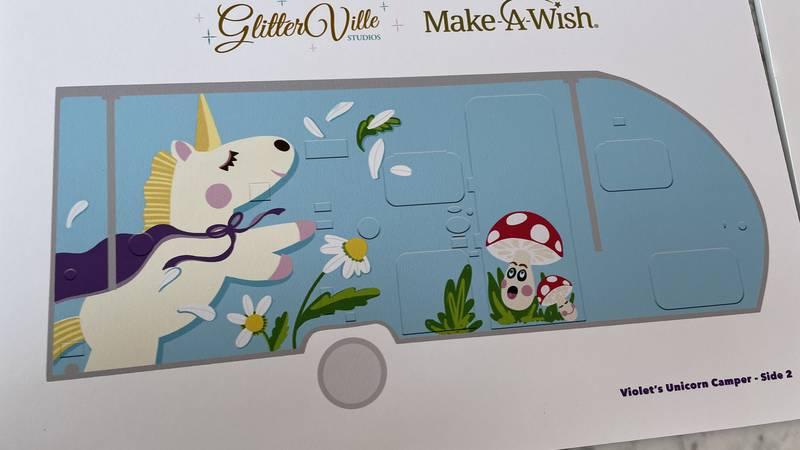 Glitterville makes camper for Make-A-Wish recipient.