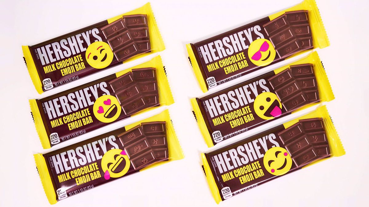 The new Hershey's Milk Chocolate Emoji Bars will feature 25 of the most popular emojis across six different emoji packaging designs.
