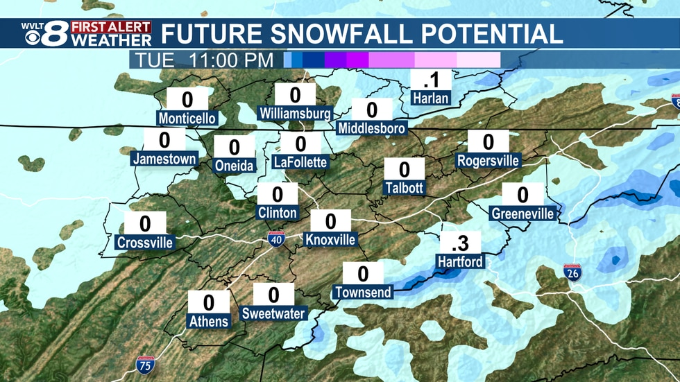 Light snowfall for most, but several inches in the Smokies.