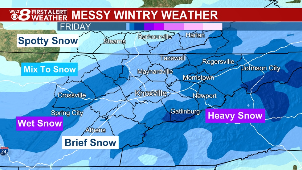 With Winter Storm Warnings in place, here's where snow will stick.
