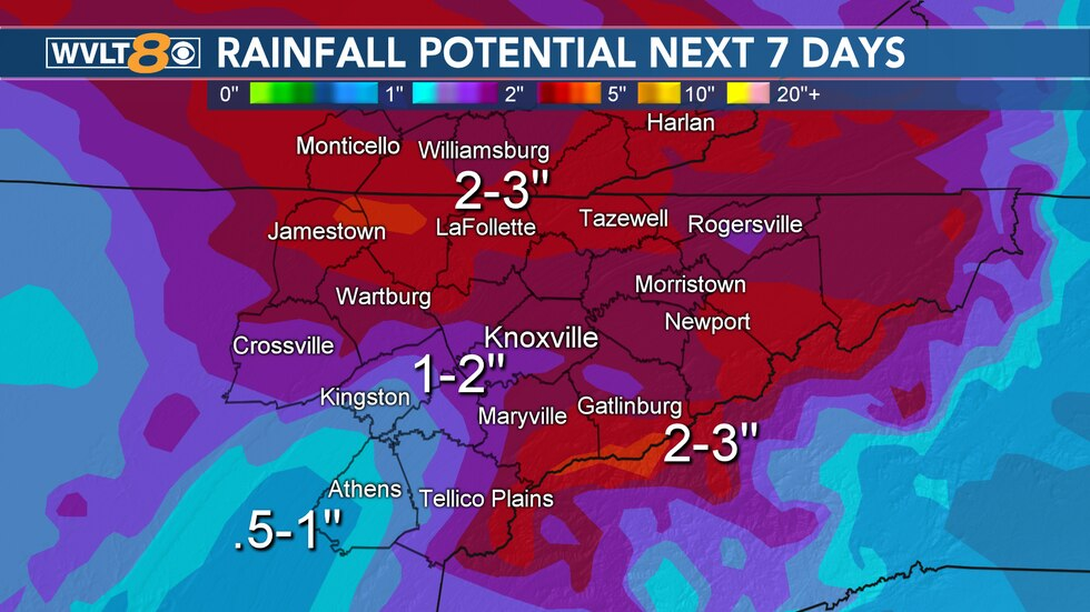 Two to three inches of rainfall is possible this week.