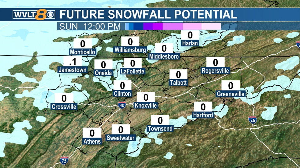 Flurries to spotty snow showers Sunday morning.