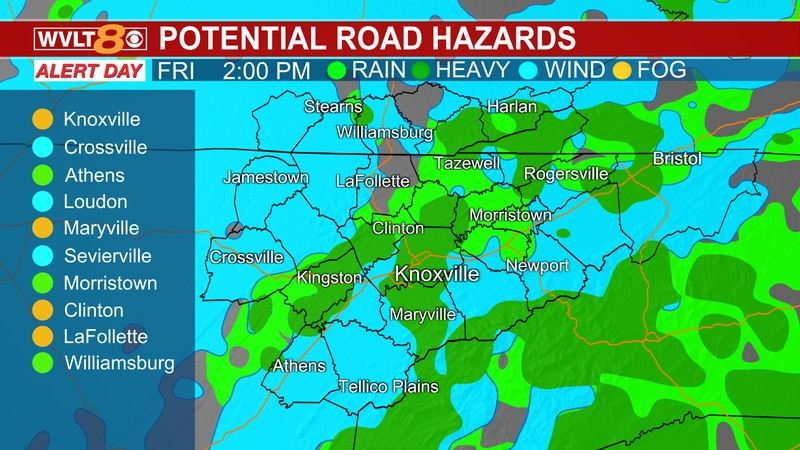 Hazards today include heavier rain at times, some storms, and gusty winds.