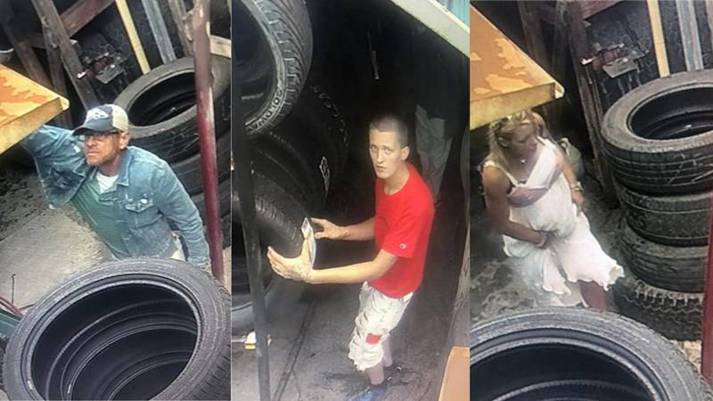 According to officials, three suspects allegedly stole tires from Fraires Tire & Wheel off...