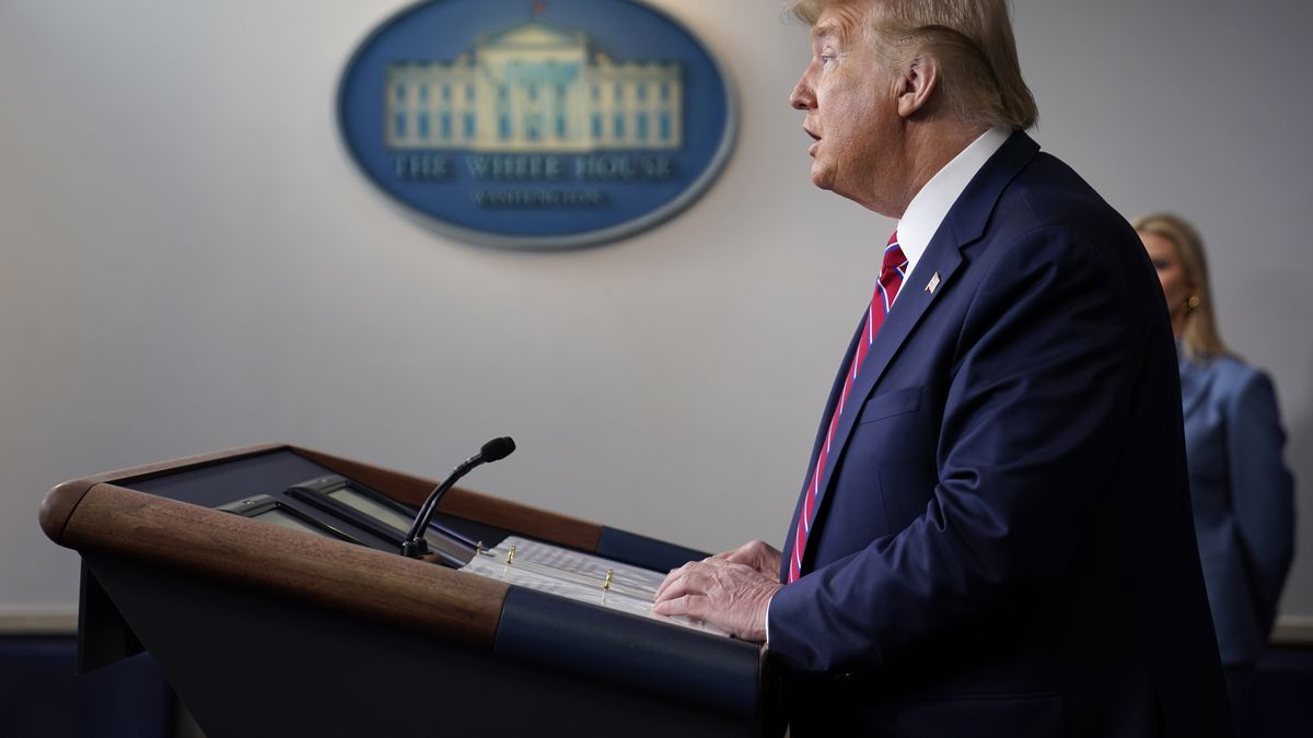 President Donald Trump speaks at the White House, Friday, March 20, 2020, in Washington. (AP Photo/Evan Vucci)