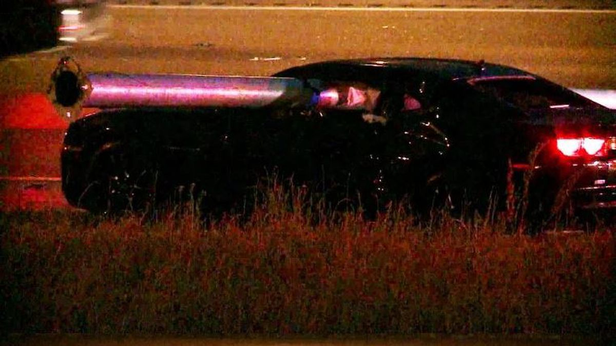 Utility pole goes through car on I-240 in Memphis / Source: WREG