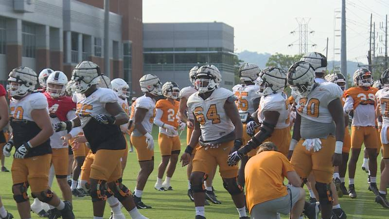 First day in full pads during fall camp at Haslam Field on the UT campus