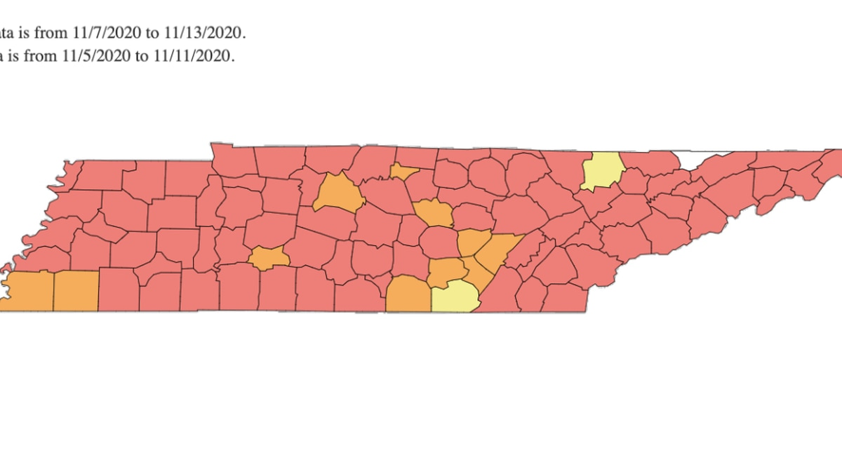 Tennessee COVID-19 Red Zones