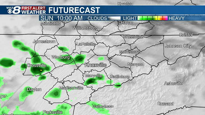 More scattered showers and storms Sunday