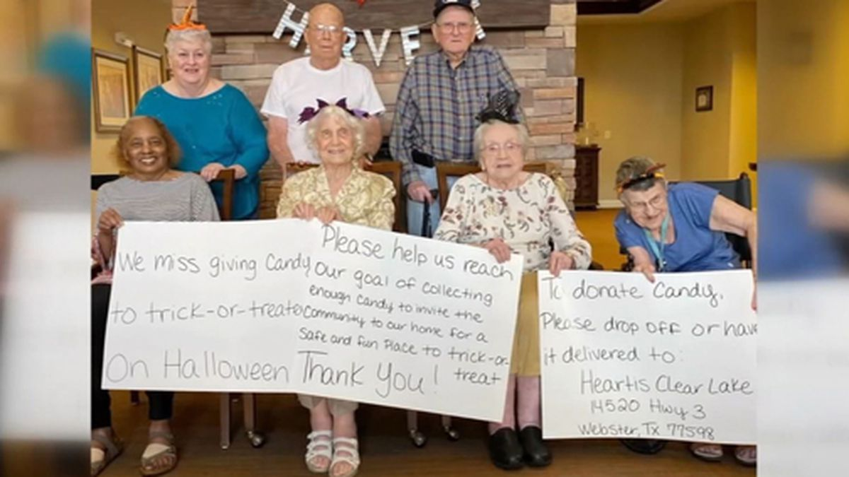 Residents of a Texas senior home got on social media to get Halloween candy for kids. (Source: KTRK/Heartis Clear Lake/CNN)