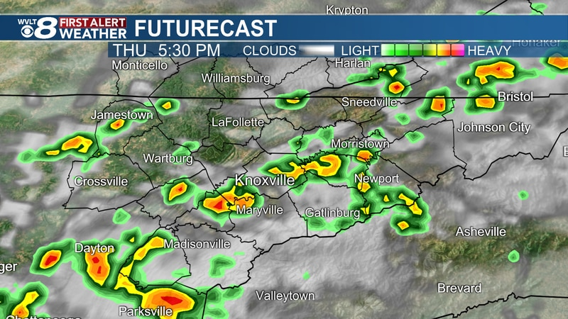 Scattered downpours and storms Thursday