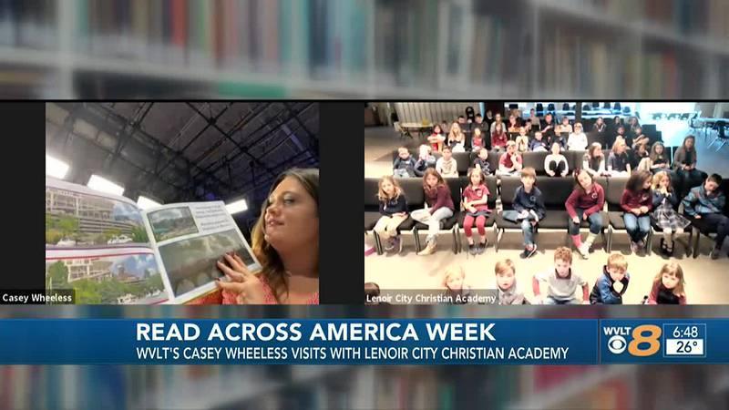 Casey Wheeless reads to Lenoir Christian Academy Students
