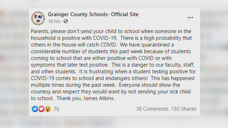 Grainger County Schools' Facebook post