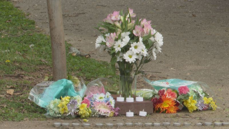 Memorial created outside of Austin-East Magnet High School