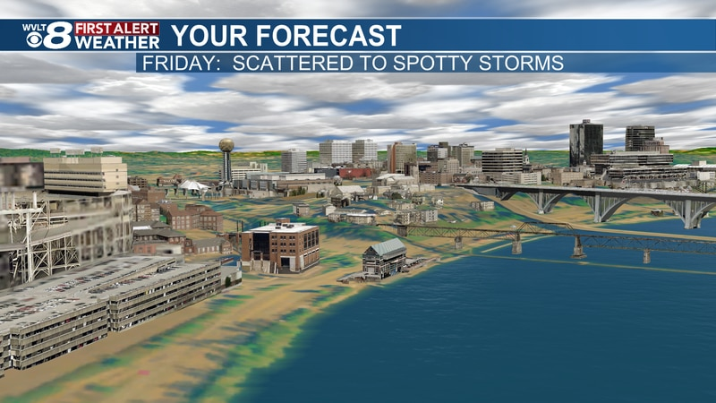 Scattered AM showers turn to spotty Friday