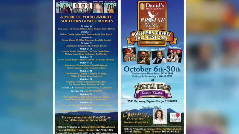 Praise 96.3 Southern Gospel Fall Fest is coming to Pigeon Forge!