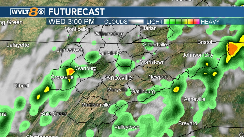 A look at some of the storms that will pop-up in the afternoon.
