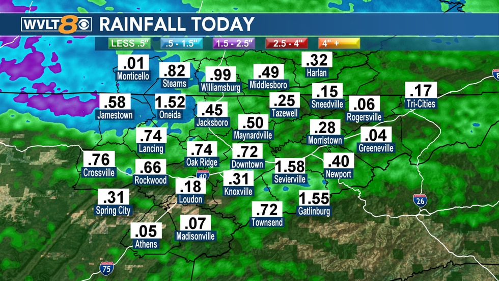 "As of 4 p.m. Sunday many areas had already picked up more than half an inch of rain. Some areas like Oneida had 1.52"" and more is on the way."