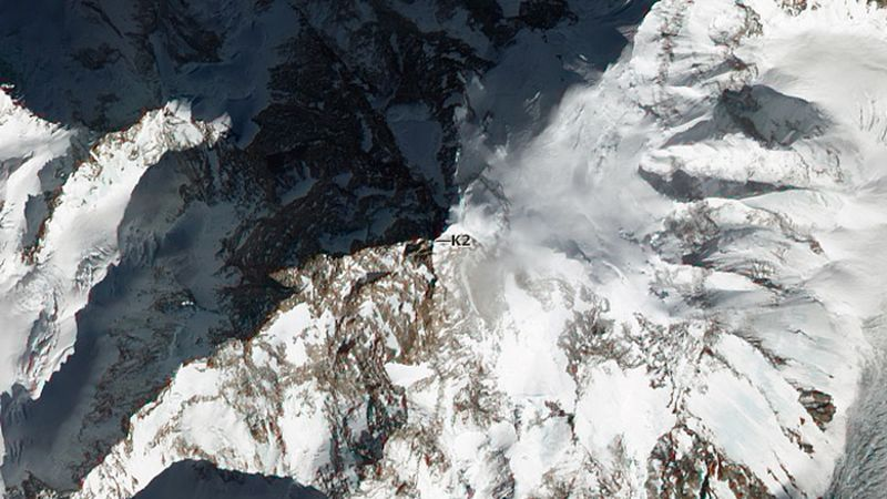 K2.  (NASA Earth Observatory image by Jesse Allen and Robert Simmon, using EO-1 ALI data from...