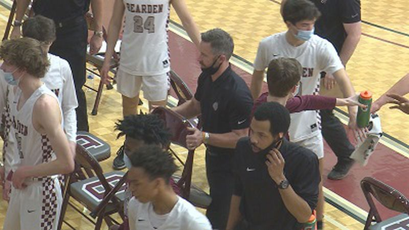 Coach Jeremy Parrott and players during 2021 Region-2AAA Semifinals