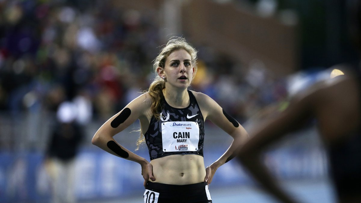 FILE - In this April 29, 2016, file photo, Mary Cain walks off the track after competing in the...