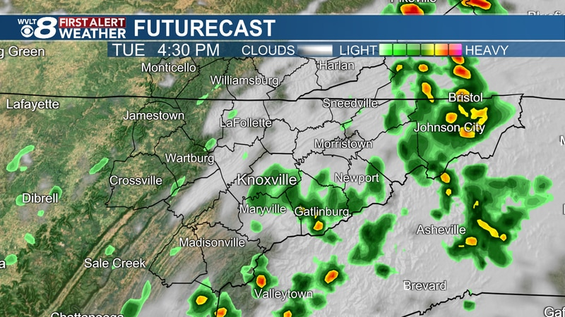 Few showers and storms Tuesday
