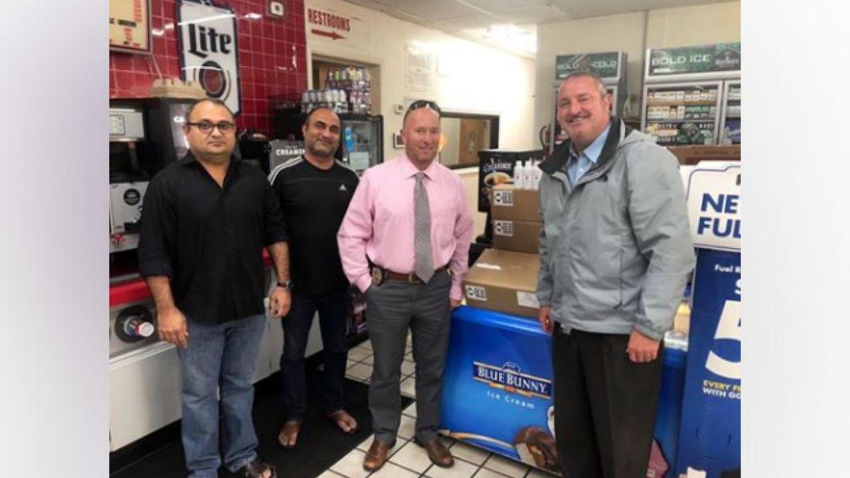 Karim Boghani donated hundreds of bottles of hand sanitiizer to KPD./ Source: Knoxville Police Dept.