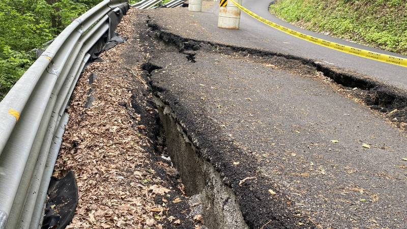 Crumbling right lane forces a rural Jefferson County community to drive on a single lane down a...