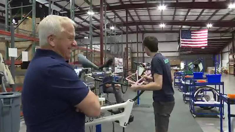 Tour De France Champion at his Bike manufacturing plant in Knoxville, TN