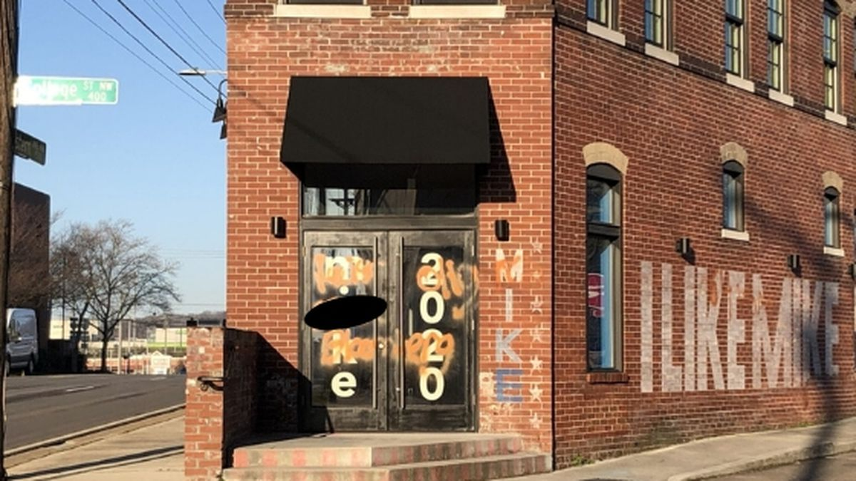Expletives painted on Michael Bloomberg's Knoxville campaign office. WVLT News censored the photo where strong language was used. / Source: (WVLT)