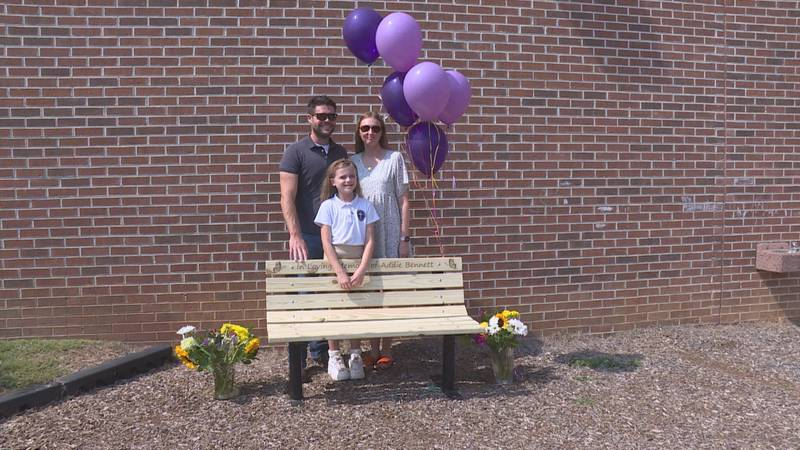 Bennett family with bench