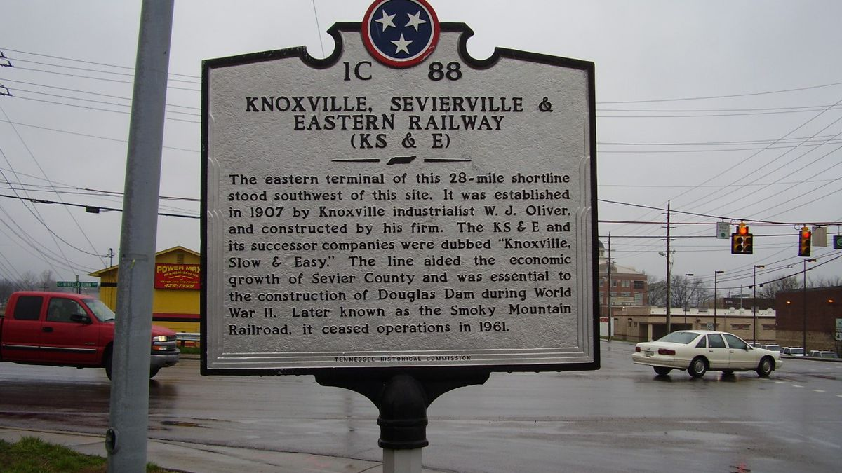Knoxville, Sevierville & Eastern Railway Marker