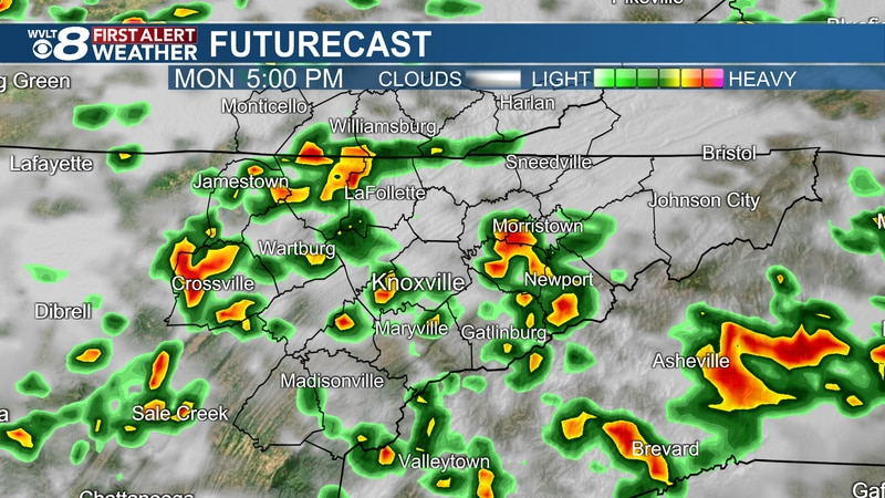 Scattered storms return Monday