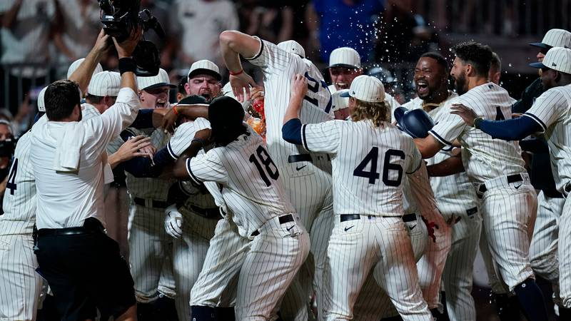 Chicago White Sox's Tim Anderson celebrates his walk-off home run against the New York Yankees...