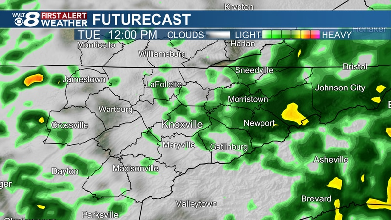 Scattered downpours continue Tuesday