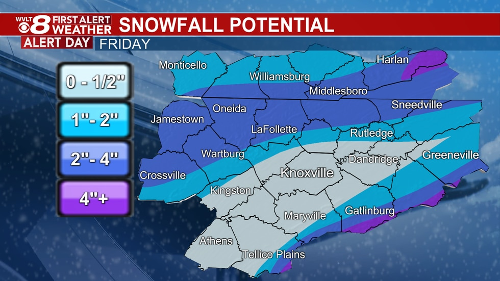 Pockets of heavier snow and slush potential outside of the Valley Friday.