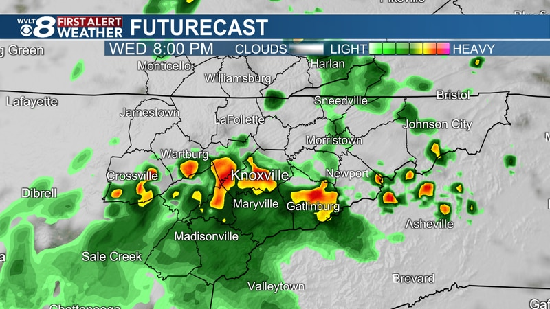 Heavy downpours possible Wednesday evening