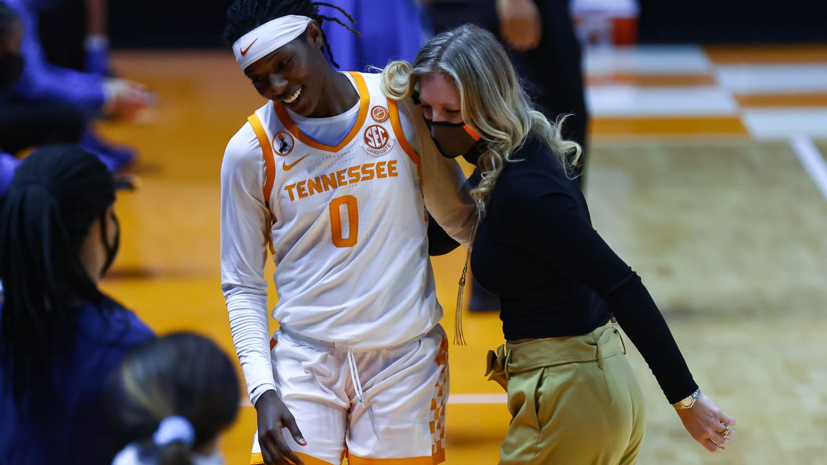 Jan 24, 2021; Knoxville, Tennessee, USA; Tennessee Lady Vols head coach Kellie Harper...