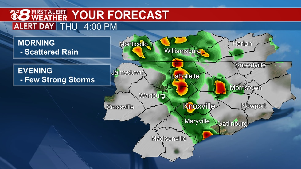 We're tracking Morning rain and afternoon scattered storms.