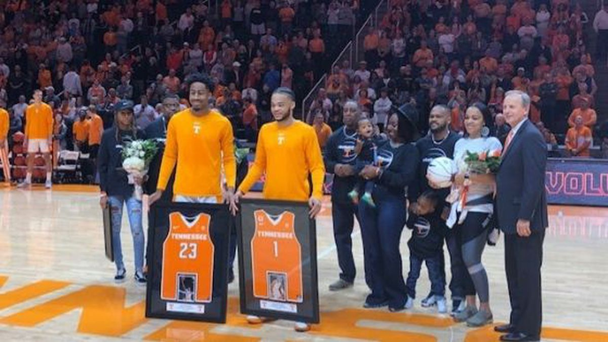 Senior guards Lamonte Turner and Jordan Bowden were honored ahead of the Vols game. / (WVLT)