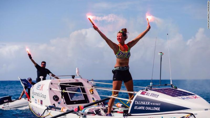 Jasmine Harrison, 21, completed the Atlantic Ocean crossing in 70 days, 3 hours and 48 minutes.