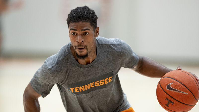 KNOXVILLE, TN - JULY 20, 2020 - Guard Victor Bailey Jr. #12 of the Tennessee Volunteers during...